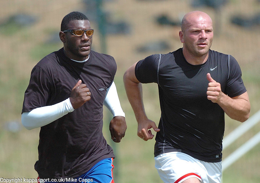 TREVOR BENJAMIN AND GUY BRANSTON KETTERING TOWN Kettering Town First Day Back Training 5th July 2008