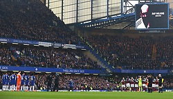April 8, 2018 - London, England, United Kingdom - Players of West Ham United and Chelsea participate in a minute of applause in remembrance of former football player and coach Ray Wilkins prior .during English Premier League match between Chelsea and West Ham United at Stamford Bridge, London, England on 08 April 2018. (Credit Image: © Kieran Galvin/NurPhoto via ZUMA Press)