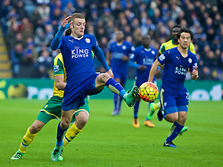 LEICESTER, ENGLAND - Saturday, February 27, 2016: Leicester City's Jamie Vardy in action against Norwich City during the Premier League match at Filbert Way. (Pic by David Rawcliffe/Propaganda)