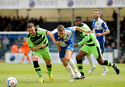 Forest Green Rovers's James Marwood tries to hold off Bristol Rovers' Lee Brown.- Photo mandatory by-line: Nizaam Jones /JMP - Mobile: 07966 386802 - 03/05/2015 - SPORT - Football - Bristol - Memorial Stadium - Bristol Rovers v Forest Green Rovers - Vanarama Football Conference.