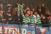 Jonny Hayes of Celtic FC lifts the Betfred Scottish League Cup following their 1-0 victory over Rangers FC at Hampden Park, Glasgow, United Kingdom on 8 December 2019.