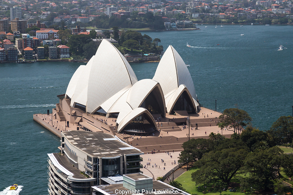 Open Sydney presented by Sydney Living Museuems. This event every year allows Sydneysiders to visit 40 of the city's most significant buildings and spaces across the CBD. Views of Sydney Opera House from rooftop of AMP Building, Sydney.
