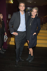 LUCY CARR-ELLISON and TOM ASQUITH at the Al Films and Warner Music Screening of Kill Your Friends held at the Curzon Soho Cinema, 99 Shaftesbury Avenue, London on 27th October 2015.