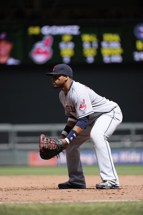 MINNEAPOLIS - APRIL 24:  Carlos Santana #41 of the Cleveland Indians fields against the Minnesota Twins  on April 24, 2011 at Target Field in Minneapolis, Minnesota.  The Twins defeated the Indians 4-3.  (Photo by Ron Vesely)  Subject:  Carlos Santana