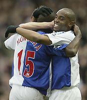 Photo: Aidan Ellis.<br /> Blackburn Rovers v Manchester City. The FA Cup. 11/03/2007.<br /> Rovers Aaron Mokoena celebrates his goal with Benni Mcarthy