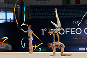 "Belarus Junior Group during the ""1st Trofeo Citta di Monza"". On this occasion we have seen the rhythmic gymnastics teams of Belarus and Italy challenge each other. The Bilateral period was only June 9, 2019 at the Candy Arena in Monza, Italy."
