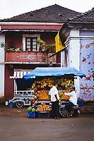 A fruit seller in the old Latin Quarters of Panjim in Goa, India.