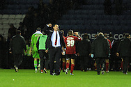 Cardiff city's manager Malky Mackay celebrates his sides win at the end of the game. NPower championship, Leicester city v Cardiff city at the King Power stadium in Leicester on Saturday 22nd Dec 2012. pic by Andrew Orchard, Andrew Orchard sports photography,