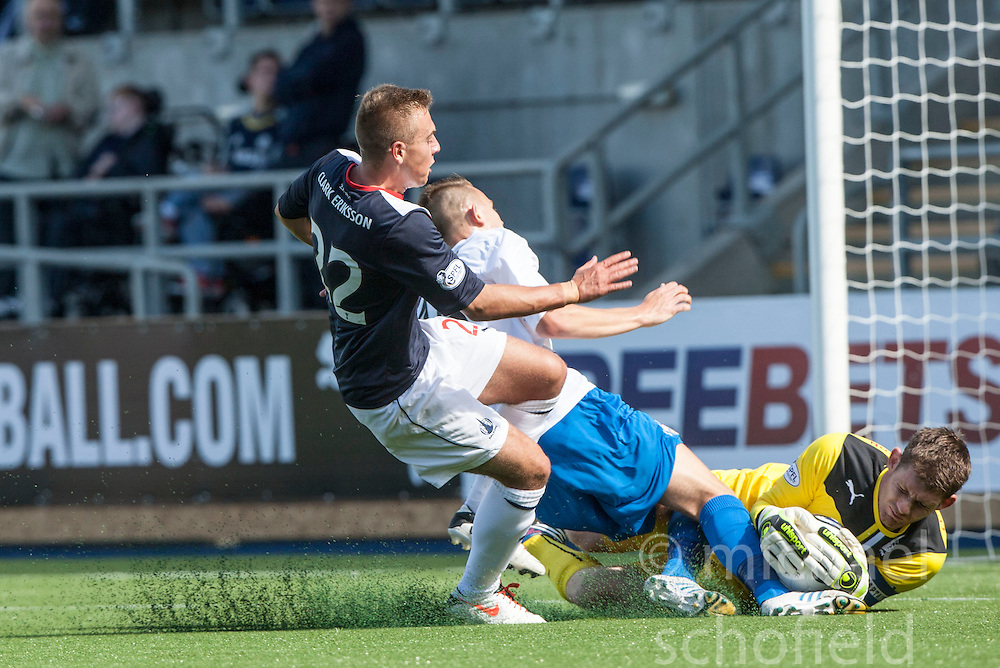 Falkirk's Kyle Turnbull, Morton's Reece Hands and Falkirk's keeper Michael McGovern.<br /> Falkirk 3 v 0 Morton, Scottish Championship 17/8/2013.<br /> &copy;Michael Schofield.