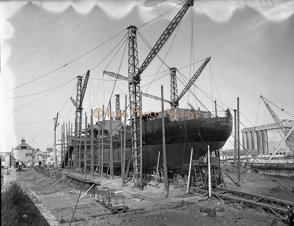 1954 - 26/08 Irish Fern being built for Irish Shipping Ltd 26/08/1954<br /> <br /> Irish Fern being built for Irish Shipping Ltd by the Liffey Dockyard Ltd Dublin. This ship was delivered to I.S.L. on the 03/12/1954<br /> <br /> Thanks to Aiden McCabe for the extended and corrected caption!!