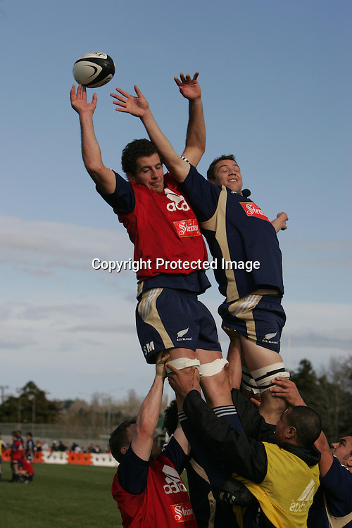 Simon Maling and Jono Gibbes go up in a lineout during the All Blacks training session at Silverdale United RFC, North of Auckland, New Zealand, Wednesday 7th July 2004. The All Blacks play the Pacific Islanders on Saturday.<br />