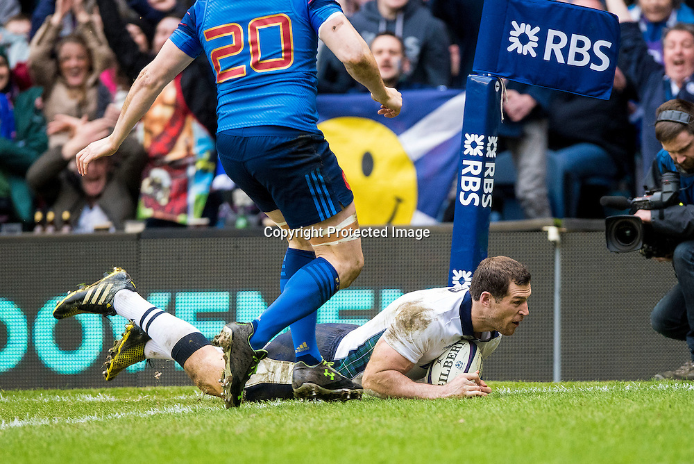 RBS 6 Nations Championship Round 4, Murrayfield, Scotland 13/3/2016<br /> Scotland vs France<br /> Scotland's Tim Visser scores a try<br /> Mandatory Credit &copy;INPHO/Craig Watson