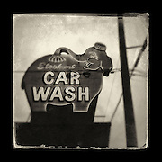 "Charles Blackburn Instagram image of the Pink Elephant Car Wash in Seattle, WA. 5x5"" print."