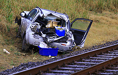 Auckland-Minor injuries for driver in car v train, Kumeu