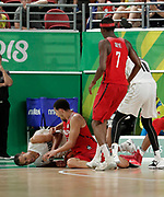 14th April 2018, Gold Coast Convention and Exhibition Centre, Gold Coast, Australia; Commonwealth Games day 10, Basketball, Mens semi final, New Zealand versus Canada; Mika Vukona of New Zealand dives on the loose ball during the last quarter