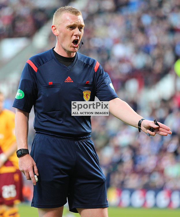 Hearts v Motherwell Scottish Premiership 12 August 2015; referee Brian Colvin gives Hearts a first half penalty during the Heart of Midlothian v Motherwell Scottish Premiership match played at Tynecastle Stadium, Edinburgh; <br /> <br /> &copy; Chris McCluskie | SportPix.org.uk