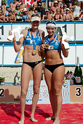 The winning team Kerri Walsh and Misty May-Treanor of USA at A1 Beach Volleyball Grand Slam tournament of Swatch FIVB World Tour 2011, on August 6, 2011 in Klagenfurt, Austria. (Photo by Matic Klansek Velej / Sportida)