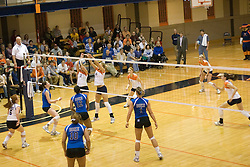 Virginia Cavaliers S Emily Kirkwood (3)..Virginia Cavaliers OH Beth Shelton (6)..The Virginia Cavaliers Volleyball Team fell to the Duke Blue Devils three games to none on November 16, 2006 at Memorial Gymnasium in Charlottesville, VA...