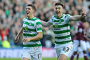 Goal scorer Ryan Christie is congratulated by Kieran Tierney during the Betfred Semi-Final Cup match between Heart of Midlothian and Celtic at Murrayfield, Edinburgh, Scotland on 28 October 2018.