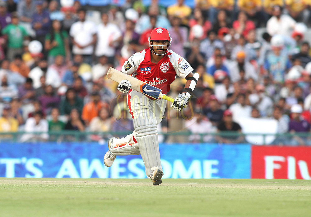 Paul Valthaty of the Kings XI Punjab runs through for a single during match 9 of the Indian Premier League ( IPL ) Season 4 between the Kings XI Punjab and the Chennai Super Kings held at the PCA stadium in Mohali, Chandigarh, India on the 13th April 2011..Photo by Shaun Roy/BCCI/SPORTZPICS