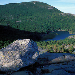 Weld, ME. Tumbledown Pond and Little Jackson Mountain as seen from the east peak of Tumbledown Mountain. Northern Forest.