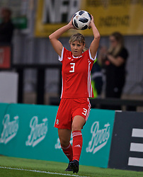 NEWPORT, WALES - Tuesday, September 3, 2019: Wales' Gemma Evans takes a throw-in during the UEFA Women Euro 2021 Qualifying Group C match between Wales and Northern Ireland at Rodney Parade. (Pic by David Rawcliffe/Propaganda)