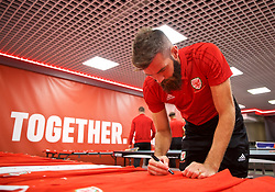 CARDIFF, WALES - Tuesday, September 4, 2018: Wales' Joe Ledley during a signing session at the Vale Resort ahead of the UEFA Nations League Group Stage League B Group 4 match between Wales and Republic of Ireland. (Pic by David Rawcliffe/Propaganda)