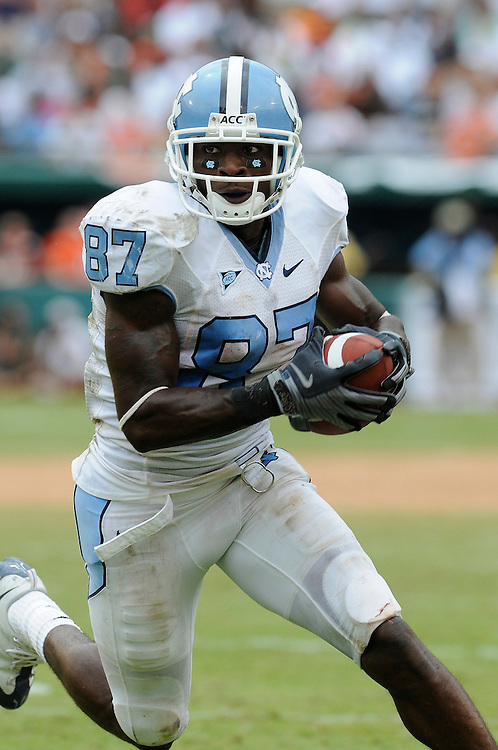 Sepember 27, 2008 - Miami Gardens, FL<br /> <br /> University of North Carolina wide receiver Brandon Tate in action during the Tar Heels 28-24 victory over the Miami Hurricanes at Dolphin Stadium in Miami Gardens, Florida.<br /> <br /> JC Ridley/CSM