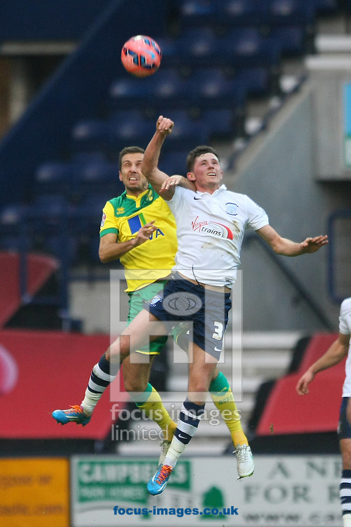 Gary O&rsquo;Neil of Norwich and Josh Brownhill of Preston in action during the FA Cup match at Deepdale, Preston<br /> Picture by Paul Chesterton/Focus Images Ltd +44 7904 640267<br /> 03/01/2015
