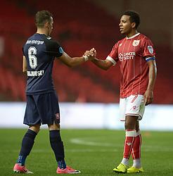 Korey Smith of Bristol City shakes hands with Dejan Trajkovski of FC Twente - Mandatory by-line: Alex James/JMP - 28/07/2017 - FOOTBALL - Ashton Gate Stadium - Bristol, England - Bristol City v FC Twente - Pre-season friendly