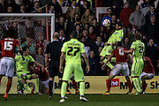 Brighton striker, Tomer Hemed (10) misses from close range during the Sky Bet Championship match between Nottingham Forest and Brighton and Hove Albion at the City Ground, Nottingham, England on 11 April 2016. Photo by Simon Davies.