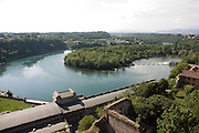 Il fiume Adda davanti alla centrale idroelettrica Taccani a Trezzo, visto dalla torre del castello visconteo...A bight of Adda river near the hydroelectric plant Taccani, view from the tower of Visconti castle.