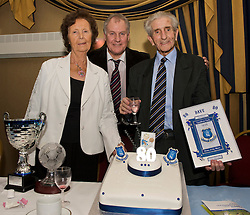 LIVERPOOL, ENGLAND - Friday, November 27, 2009: Dave Hickson celebrates his 80th birthday with his wife Pat and former Everton player and manager Joe Royle at the Health Through Sport charity dinner at the Devonshire House. (Photo by David Rawcliffe/Propaganda)