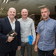31.05.2018.          <br /> LEO Limerick welcomed Sean Gallagher to Limerick to talk about his new book 'Secrets to Success- Inspiring Stories from Leading Entrepreneurs'.<br /> Pictured at the event in Thomond Park were, Sean Gallagher, Michael O'Connell, Alphapix and Martin Ulej, MM Cookies. Picture: Alan Place