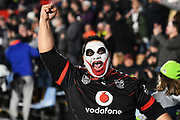 Vodafone Warriors supporter celebrates after the Vodafone Warriors defeat the Canberra Raiders.<br /> Vodafone Warriors v Canberra Raiders, Mt Smart Stadium, Auckland, New Zealand. 31 August 2018. © Copyright Image: Marc Shannon / www.photosport.nz.