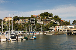 Sailboats and houses, city of Tiburon on San Francisco Bay, CA, California.  Appealing community on Marin side with breakfast places, sailboats, outdoor dining, houses with scenic views, views of the Golden Gate, cormorant birdlife, public sculptures, a railroad museum, boutique art shops, and an historic China Cabin building from an ex-ship..Photo camari264-70318..Photo copyright Lee Foster, www.fostertravel.com, 510-549-2202, lee@fostertravel.com.