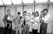 Baby show 6 to 12 months; 1st Andrew Gallagher, Pontefract; 2nd triplets Stephanie, Charlie and Oliver Jones, Pontefract; 3rd Emma Hickson, Area Office; 4th Joshua Sables, Bentley. 1993 Yorkshire Miner's Gala. Wakefield.