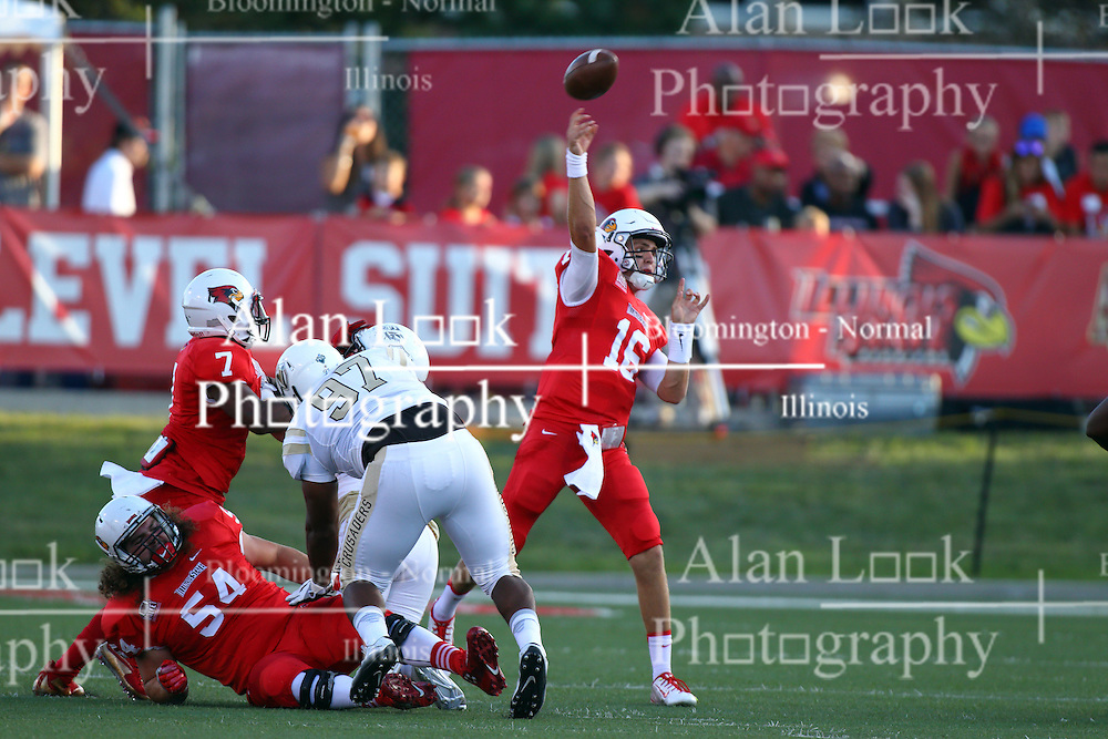 03 September 2016:  Mark Spelman and George Moreira provide protection from Michael Penn so Jake Kolbe can get off a pass. NCAA FCS Football game between Valparaiso Crusaders and Illinois State Redbirds at Hancock Stadium in Normal IL (Photo by Alan Look)