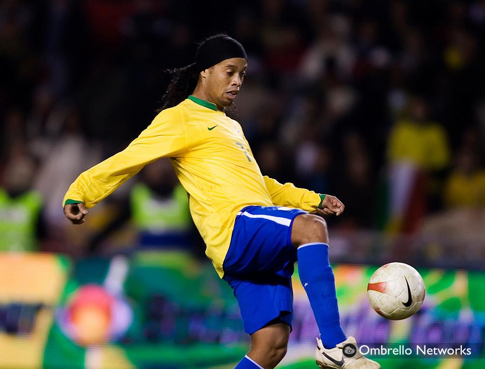 STOCKHOLM 070327<br /> TR&Auml;NINGSLANDSKAMP BRASILIEN GHANA.<br /> I bild: Ronaldinho.