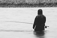 Mark Shamburg fly fishing for steelhead on the Clackamas River in northern Oregon.