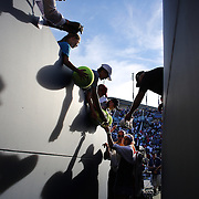 Lucie Safarova, Czech Republic,  signing autographs after her victory over  Alize Cornet, France, on Louis Armstrong Stadium during the US Open Tennis Tournament, Flushing, New York, USA. 29th August 2014. Photo Tim Clayton