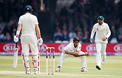 Pakistan's Hasan Ali celebrates taking the wicket of England's Joe Root for 4 during day one of the First NatWest Test Series match at Lord's, London.