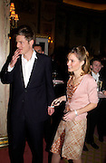 Zac Goldsmith and Mrs. Zac, ( Sheherazade)  Goldsmith. Annabel, An Unconventional Life. Memoirs of Lady Annable goildsmith. The Ritz. 10 March 2004. ONE TIME USE ONLY - DO NOT ARCHIVE  © Copyright Photograph by Dafydd Jones 66 Stockwell Park Rd. London SW9 0DA Tel 020 7733 0108 www.dafjones.com