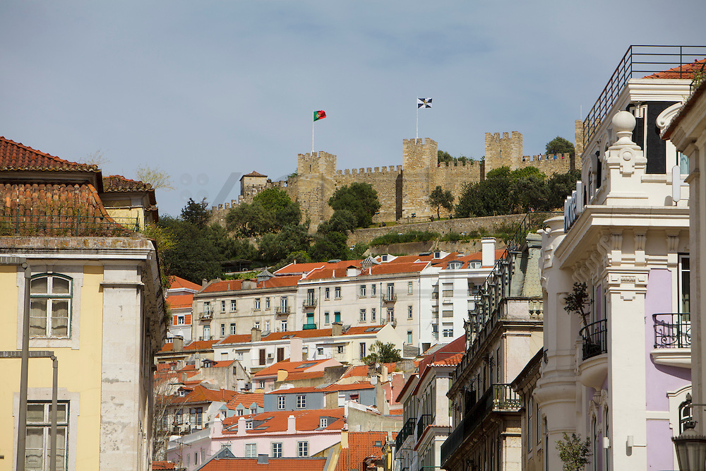 Saint George Castle - Castelo de Sao Jorge in Lisbon, seen from Rossio square