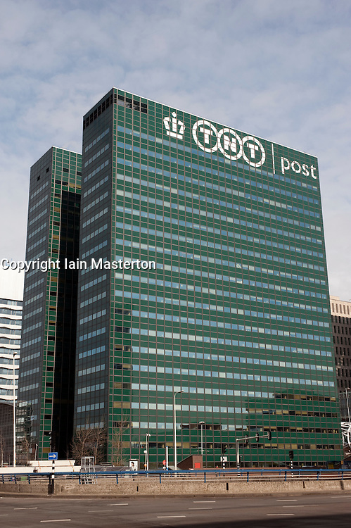 TNT postal company headquarters office tower in Central Business District in The Hague Netherlands