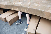 21/07/2018 repro free:  <br /> The People Build at Galway International Arts Festival saw not just one but two large-scale structures appear in a matter of hours built solely from cardboard. Under the guidance of French artist, Olivier Grossetete and his team, The People Build saw over 600 volunteers and members of the general public transform cardboard boxes into a church steeple and a bridge. This spectacular architectural event won the hearts of festival audiences and encouraged a sense of community where everyone could get involved. The structure built at Eyre Square was inspired by St. Nicholas&rsquo; Church in Galway and the bridge at Waterside was positioned at the location of Galway&rsquo;s River Corrib Viaduct, once part of the famous Galway to Clifden Railway.<br /> <br /> It is estimated that almost 4 tonnes of cardboard were used across the two builds. Following the constructions, children and grown-ups alike joined forces in a massive celebratory demolition, which saw the cardboard structures come tumbling down amidst shrieks of joy and delight.<br /> <br /> Walsh Waste &amp; Recycling have once again joined forces with Galway International Arts Festival to ensure there was no unnecessary waste following the event and were on hand to take away the crushed cardboard to be recycled. Photo:Andrew Downes, xposure