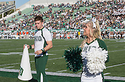 Siblings Chase and Nikki Worcester cheer during the Ohio University Homecoming game on October 10, 2015 at Peden Stadium. Photo by Emily Matthews