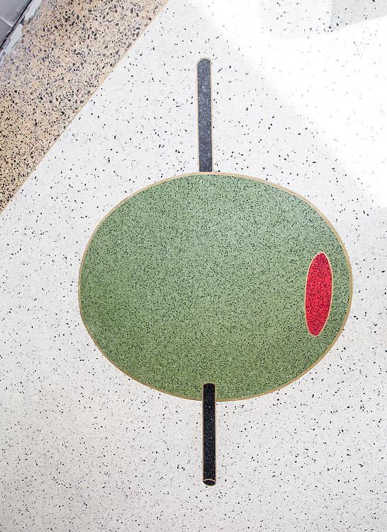 Florida terrazzo floor at The Continental restaurant in The Gates Hotel in Miami Beach