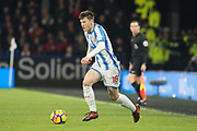 Huddersfield Town Midfielder Joe Lolley in action during the Premier League match between Huddersfield Town and Stoke City at the John Smiths Stadium, Huddersfield, England on 26 December 2017. Photo by Craig Zadoroznyj.