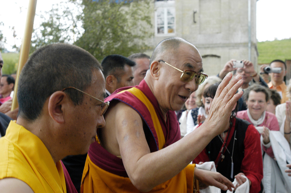 His Holiness the Dalai Lama visits the Vajradhara Ling Buddhist Temple in Normandie during his His Holiness' visit to France. The Dalai Lama blessed a project to build a Temple for Peace at the center and gave a speech to hundreds of guests...Aubry-le-Panthou, France. 14/08/2008..Photo © J.B. Russell